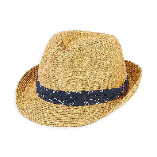 Small Heads Straw Fedora Hat with Anchor Print Band - Sunny Dayz™
