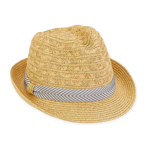 Small Heads Straw Fedora Hat with Chevron Band - Sunny Dayz™