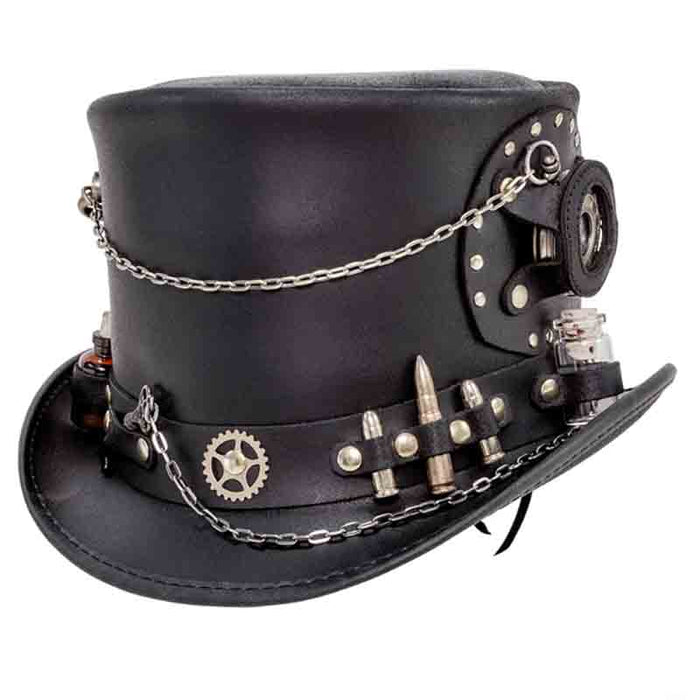Time Port Leather Steampunk Top Hat, Black up to 3XL - Steampunk Hatter
