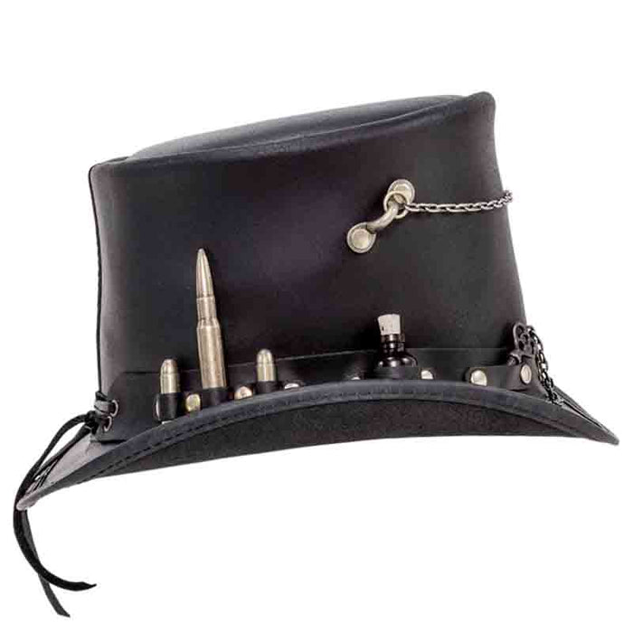 Time Port Leather Steampunk Top Hat - Brown