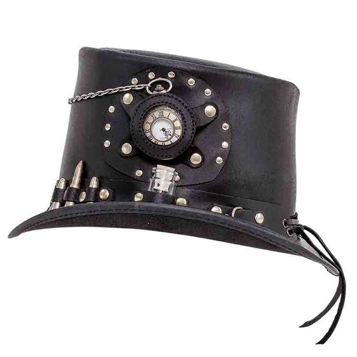 Time Port Leather Steampunk Top Hat - Black
