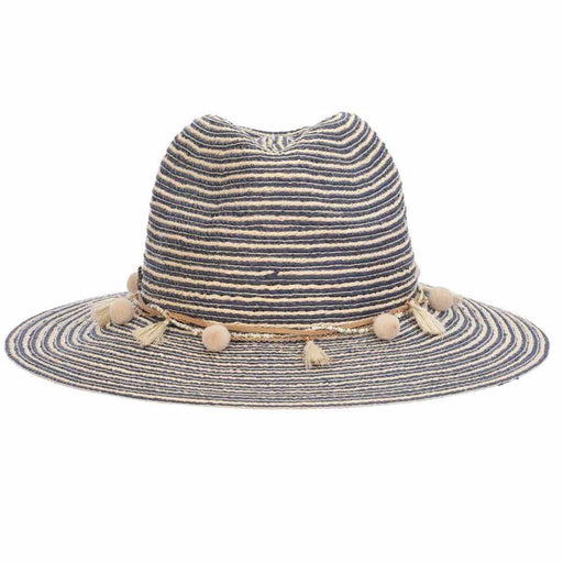 Striped Panama Hat with Beads and Tassel Band - Tommy Bahama