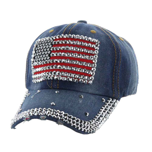 USA Flag Aged Denim Studded Cap - Red, White and Blue Collection