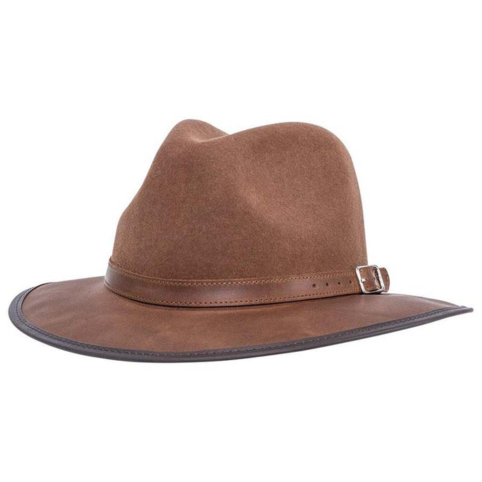 Summit Safari Wool and Leather Hat, Saddle - American Outback Wool Hat