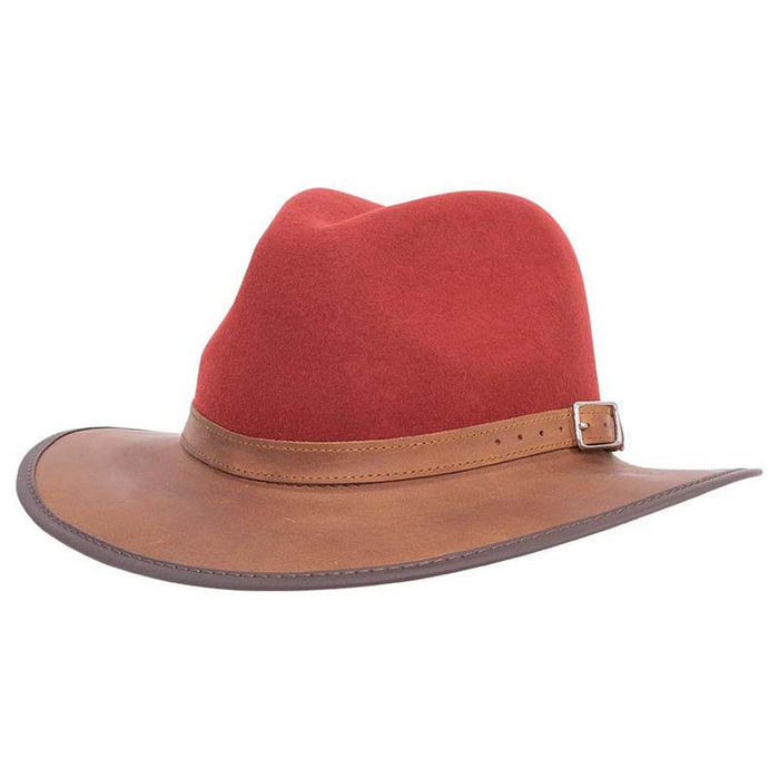 Summit Safari Wool and Leather Hat, Sangria - American Outback