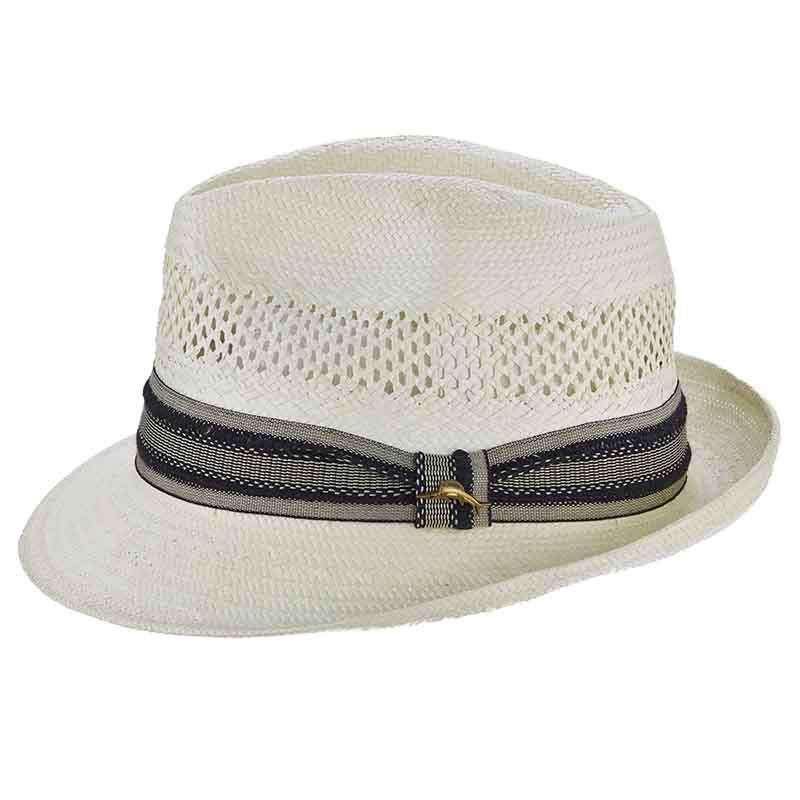 Tommy Bahama Open Weave Vented Toyo Fedora - Ivory