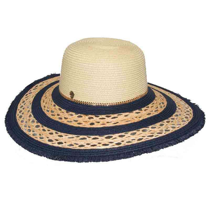 02dde7da2768d Navy Macrame Brim Floppy Hat by Tommy Bahama - Summer Hats for Women —  SetarTrading Hats