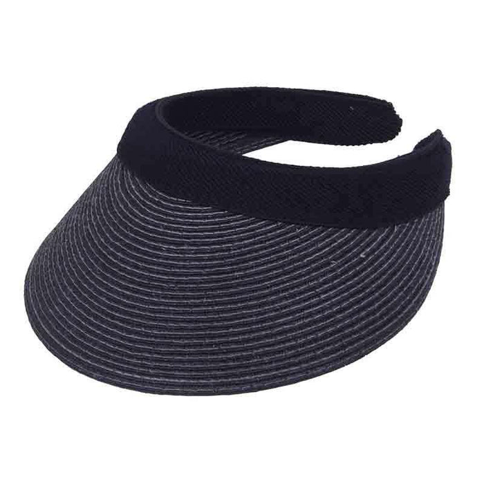 Straw Clip On Sun Visor with Contrast Stitching - Karen Keith Hats