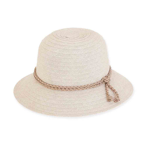 Textured Ribbon Cloche Hat with Braided Tie - Sun 'N' Sand