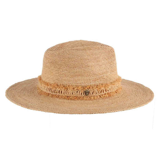 Tommy Bahama crocheted raffia safari hat women summer beach pineapple pin side view