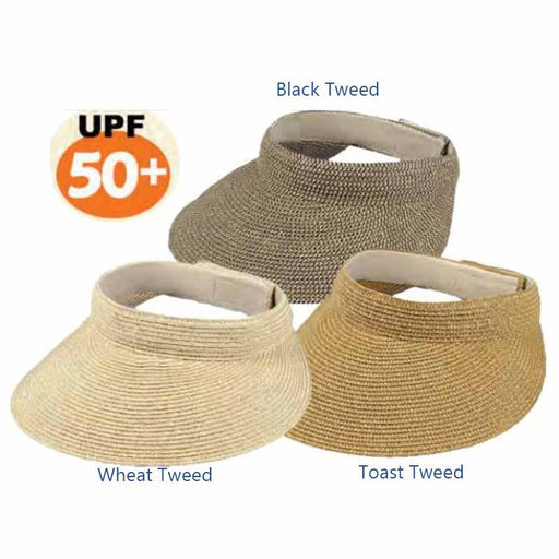 "Multi-tone tweed straw sun visor with large brim.  Bill has 4.5"" peak (widest on front).  Velcro closure.  Packable.  UPF 50+ rating."
