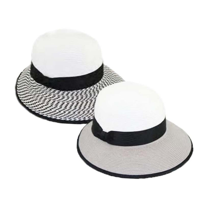 Two Tone Small Brim Facesaver Hat - Jeanne Simmons Hats