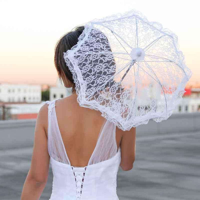Mini Bridal Lace Parasol with Ruffled Edges