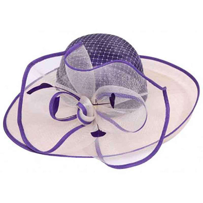 Up Turned Brim Two Tone Sinamay Dress Hat with Tulle Mesh Accent