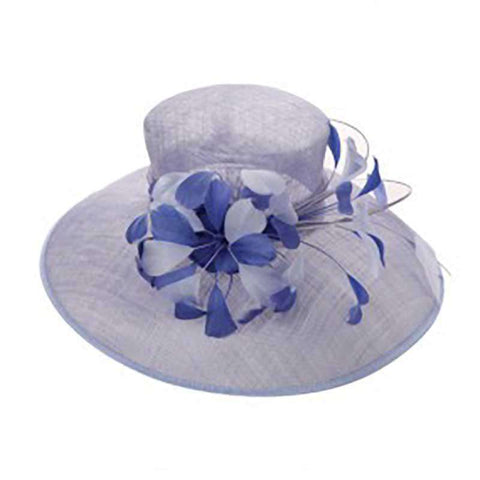 Tiffany Style Sinamay Dress Hat with Two Tone Feather Accent