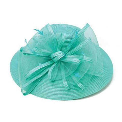 Braid Dress Hat with Trimmed Mesh Accent