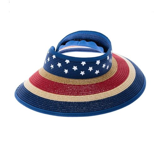 US Flag Petite Roll Up Visor Hat - Boardwalk Style Hats