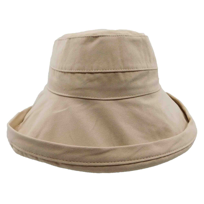 "Best selling up brim cotton hat.  Wide, shapeable brim provides excellent sun protection.  Double layer brim, 4"" wide.  Lined crown.  Drawstring inside crown to adjust size.  One size. Runs larger, fits up to 58.5 cm.  Wash in cold water. Line dry.  100% cotton."