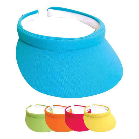 "Cotton Clip-On Sun Visor Bright Colors - Tropical Trends - 3"" Peak"