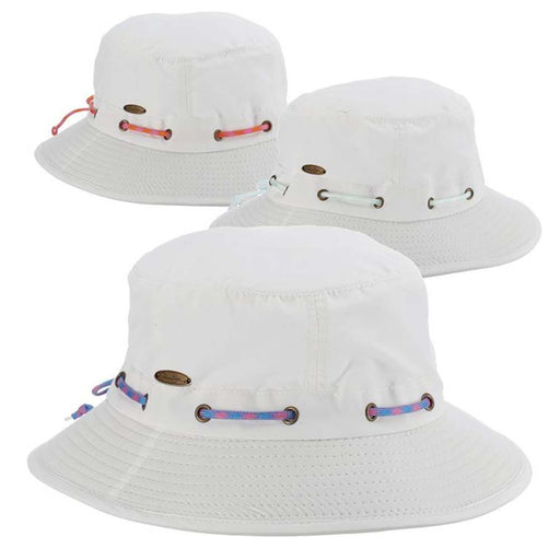 White Nylon Boonie with Bright Color Rope Tie - Panama Jack Hats