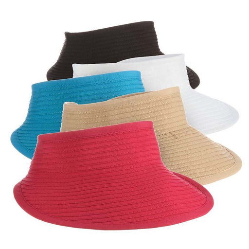 Wide Brim Ribbon Sun Visor with Elastic Closure - Tropical Trends