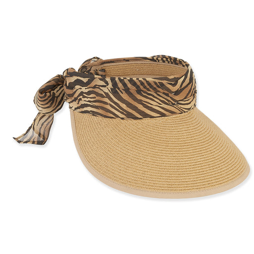 Wide Bound Brim Sun Visor with Animal Print Sash - Sun'N'Sand®