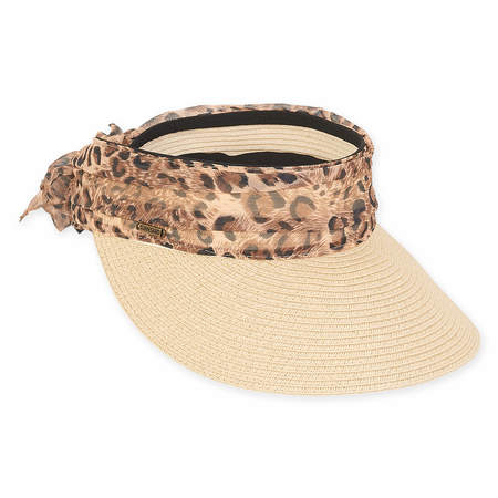Wide Brim Sun Visor with Animal Print Sash - Sun'N'Sand®