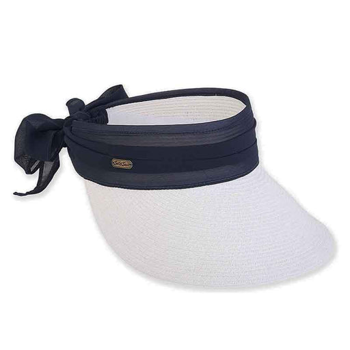 Wide Brim Sun Visor with Chiffon Sash and Long Bow - Sun'N'Sand®
