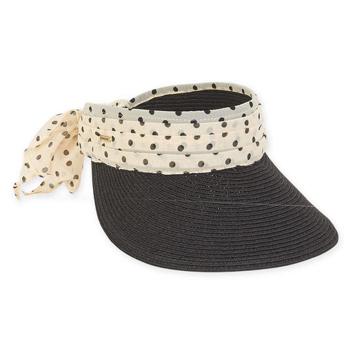 Wide Brim Sun Visor with Polka Dot Sash - Sun'N'Sand®