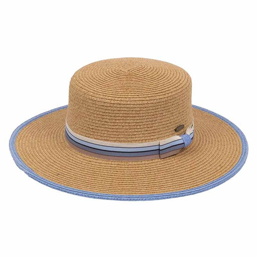 Wide brim women's boater style hat with blue striped band karen keith natural straw color with baby blue trim