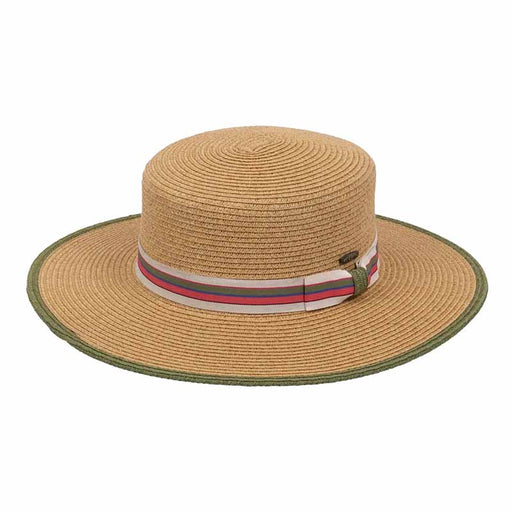 Wide brim women's boater style hat with olive striped band karen keith