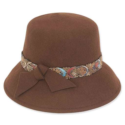 Wool Felt Cloche Hat with Woven Band and Bow - Adora® Hats