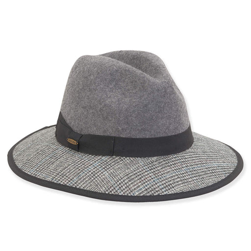 Wool Felt Safari Hat with Scottish Tweed Trim - Adora® Hats