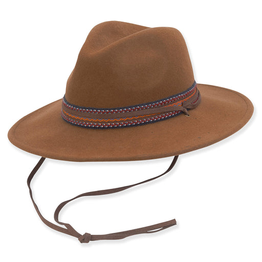Wool Felt Safari Hat with Suede Chin Strap - Adora® Hats