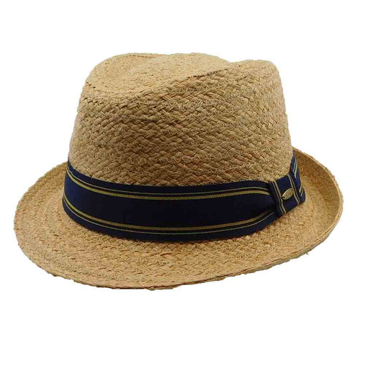 Woven Raffia Fedora with Striped Band - Scala Hats