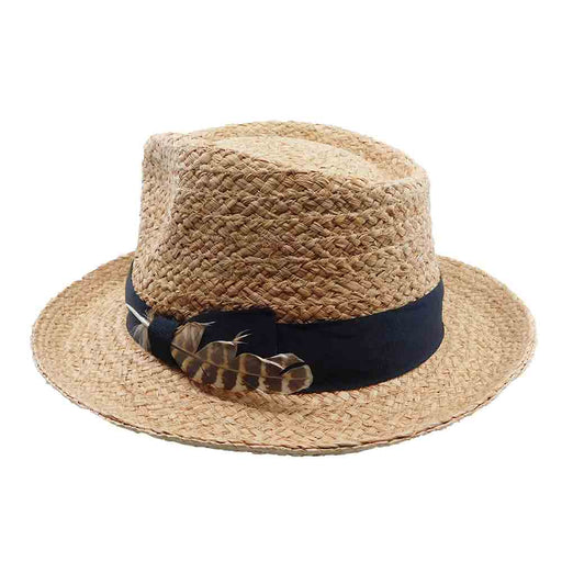 Woven Raffia Fedora with Side Feather - Brooklyn Hat Co