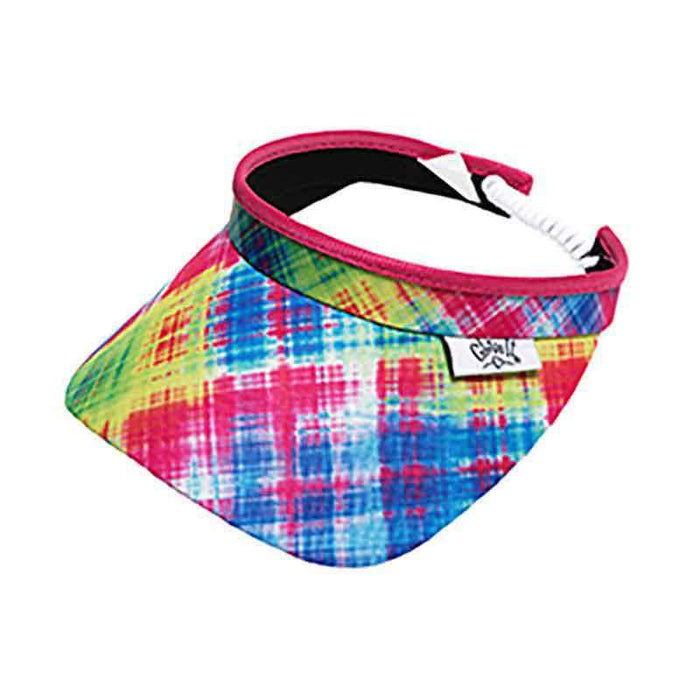 Electric Plaid Golf Sun Visor with Coil Lace by GloveIt - SetarTrading Hats