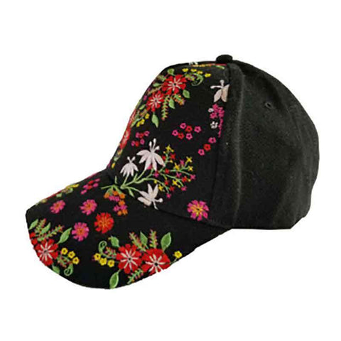 Flower Motif Embroidered Baseball Cap