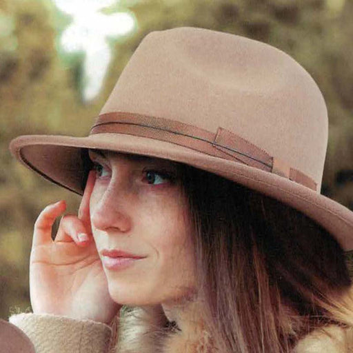 Adora® Hats Wool Felt Safari Hat with Grosgrain Ribbon Bow on model