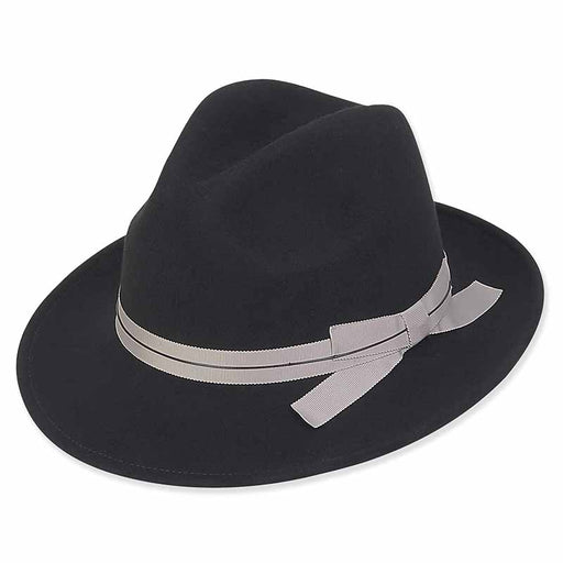 ad1002 wool felt safari hat with grosgrain ribbon and wax cord trim black adora hats