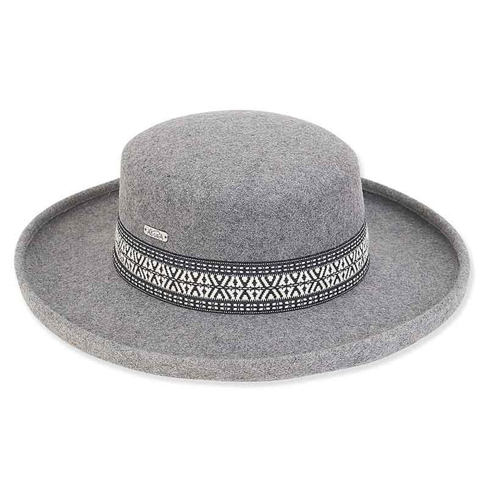 ad1016 wool felt gambler with woven band women's hat by adora