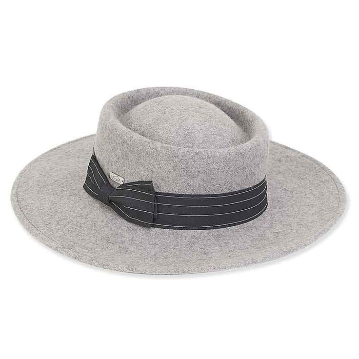 Adora® Hats Wool Felt Bolero Hat with Wide Ribbon Side Bow