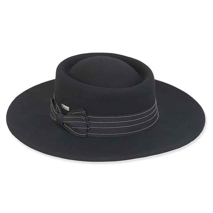 ad1017 adora hatsa wool felt gambler bolero hat with grosgrain ribbon bow