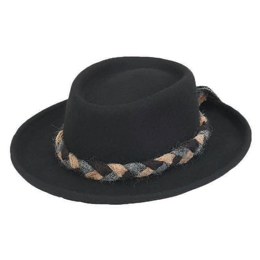ad1020a adora hats wool felt women's gambler with braided soft wool tie black