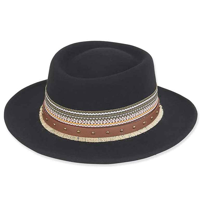 ad1021 adora hats wool felt gambler with woven antique studded faux leather trim