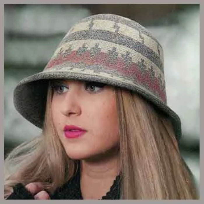adora hats black and grey geometric print soft wool bucket hat sku ad1061