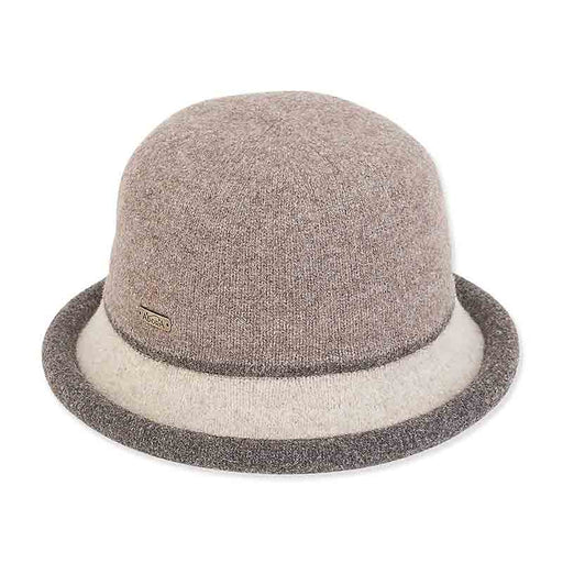 ad1064 soft wool cloche with curled brim beige brown