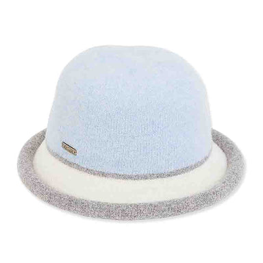 ad1064 soft wool cloche with curled brim light blue cream grey