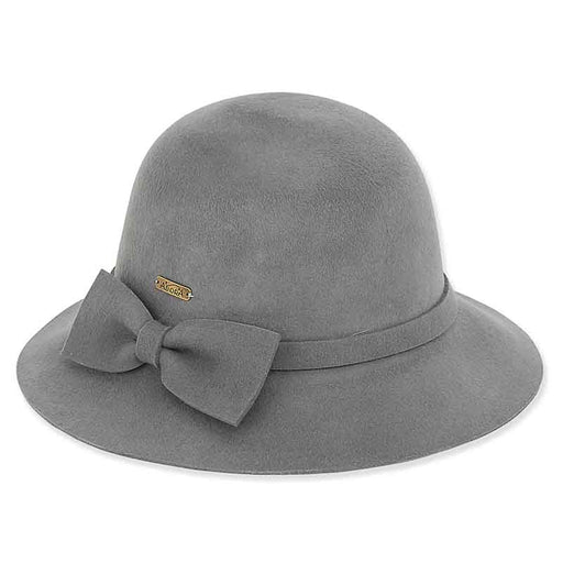 ad1079 adora hats long hair wool felt cloche grey