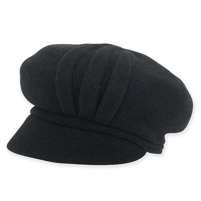 Pleated Boiled Wool Newsboy Cap by Adora®